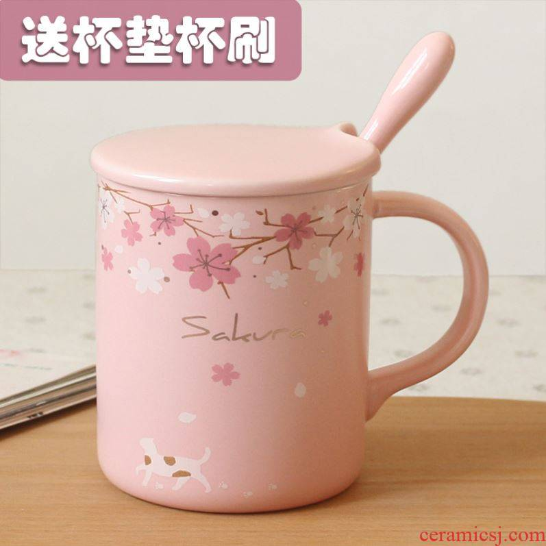 Japanese cherry blossom put mark cup with cover spoon gifts glass ceramic office coffee cup getting creative move trend