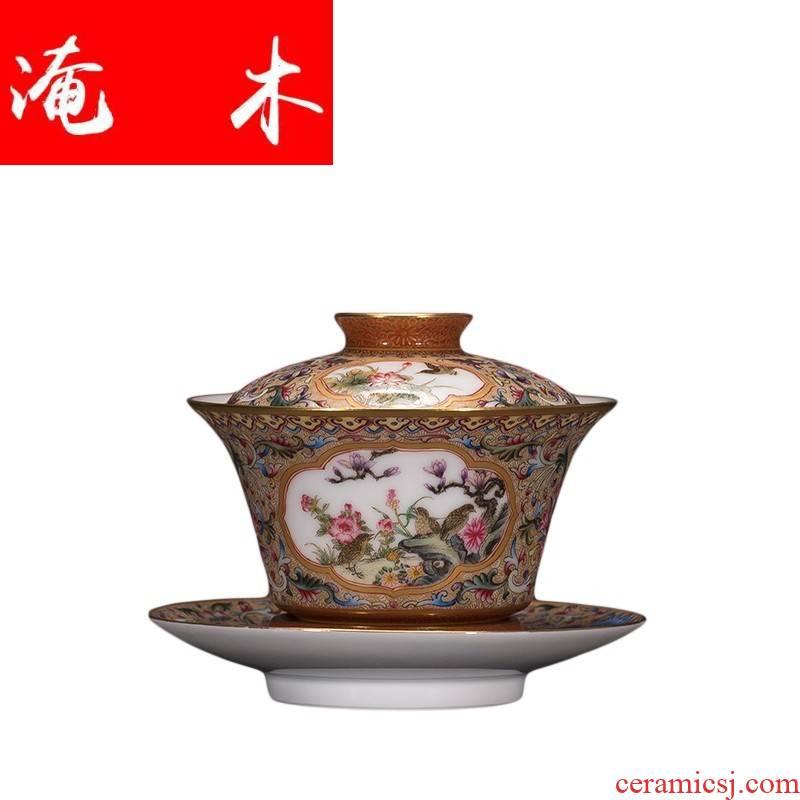 Submerged ancient wood restoring ancient ways of jingdezhen ceramic hand - made colored enamel tureen kung fu tea tea cups three tureen