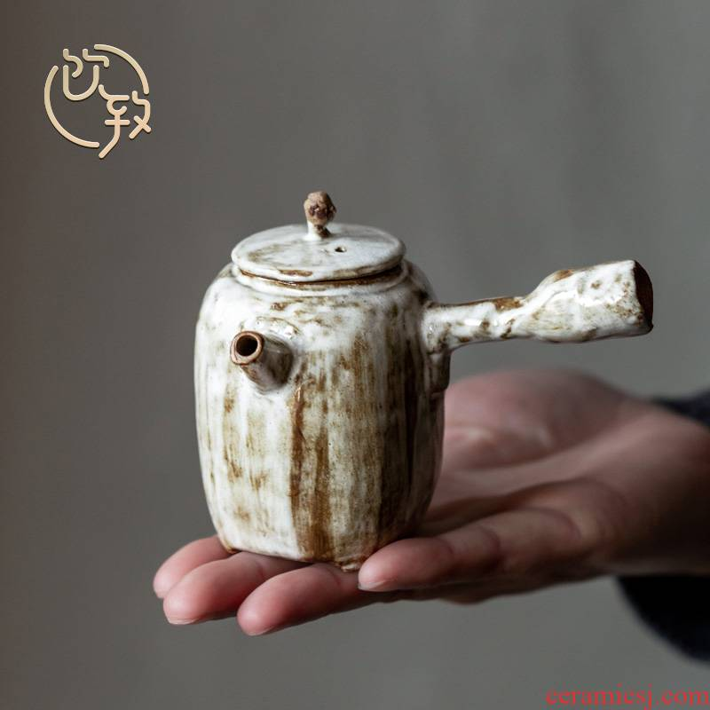Ultimately responds to hand making coarse clay side took pot of Japanese ancient ceramic household teapot kung fu tea set filter with a single pot