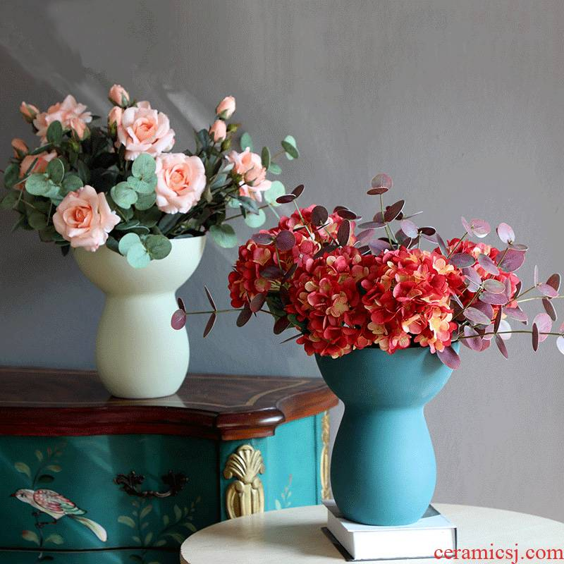 Frosted glass ceramic vase mesa ins creative living room model I and contracted household decorative flower arranging furnishing articles