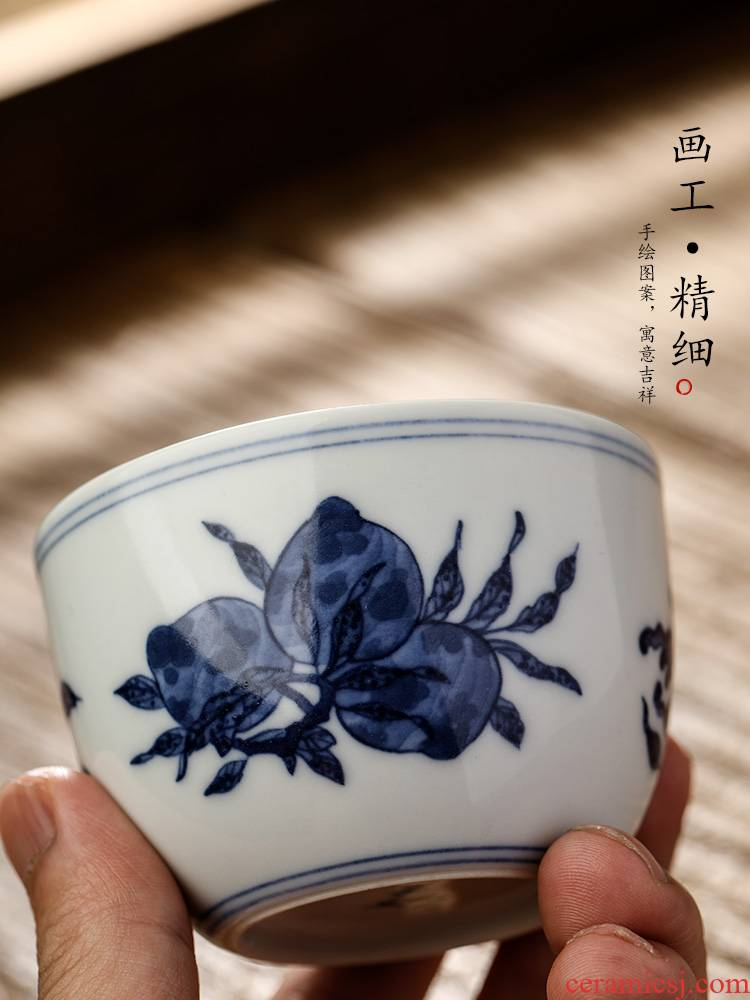 Jingdezhen hand - made porcelain teacup masters cup a cup of pure checking ceramic tea urn kung fu tea set sample tea cup only