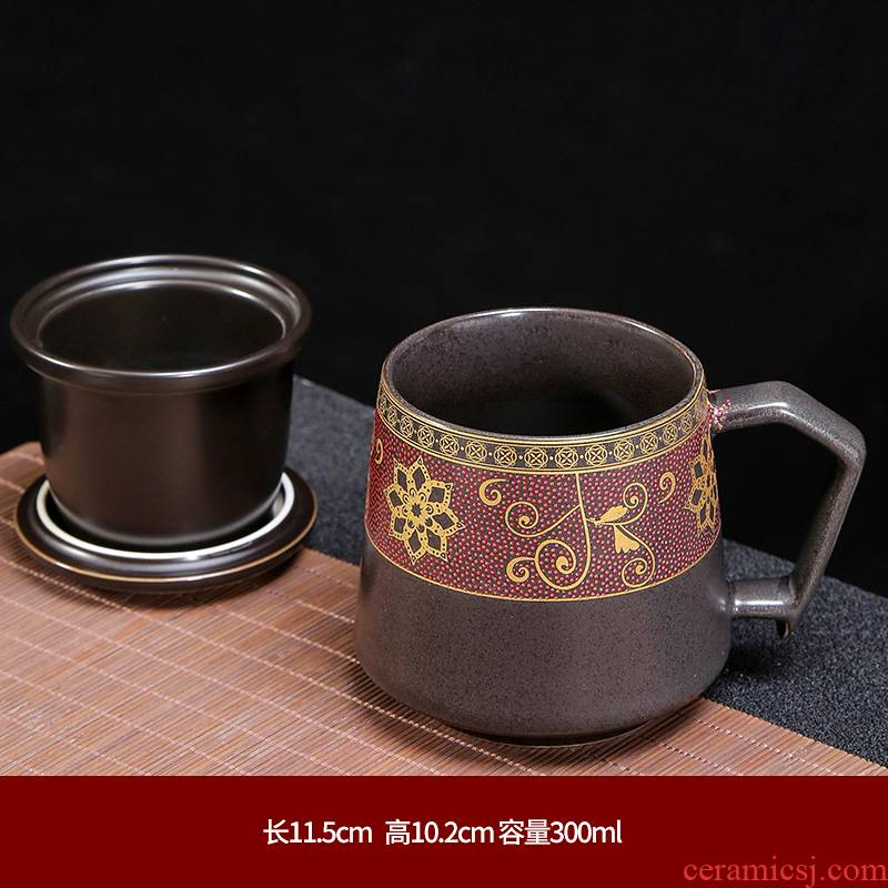 Ceramic cup China office keller cup wind household enamel ribbon cover filtration separation of tea cups to customize
