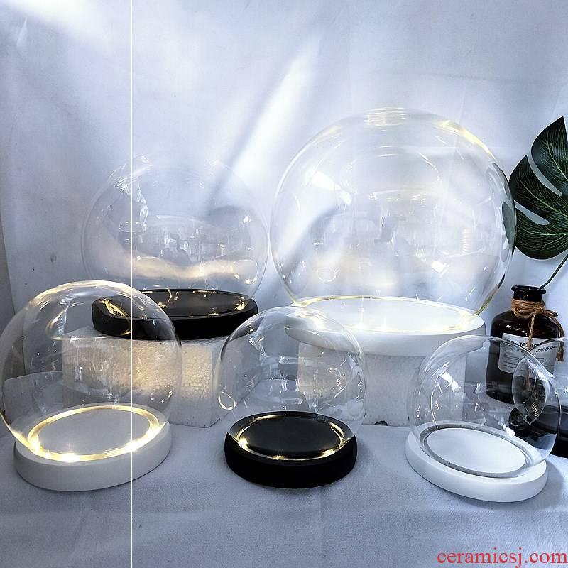Eternal life flower ball dustproof cover black and white base paint glass, the glass base fingerprint do small night lamp holder, furnishing articles
