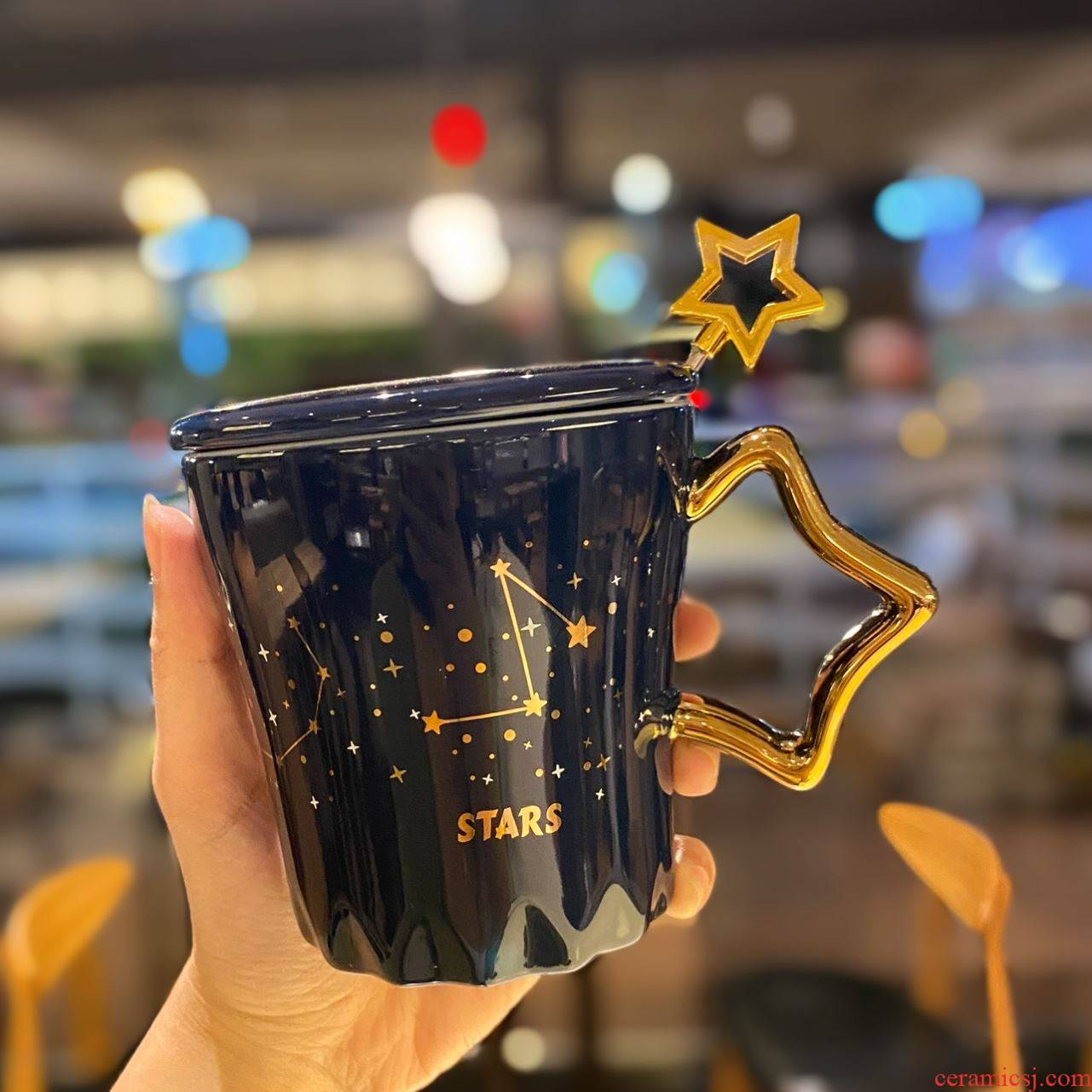 Light small European - style key-2 luxury key-2 luxury constellation ceramic cup golden ultimately responds a cup of big capacity with cover the dormitory office keller