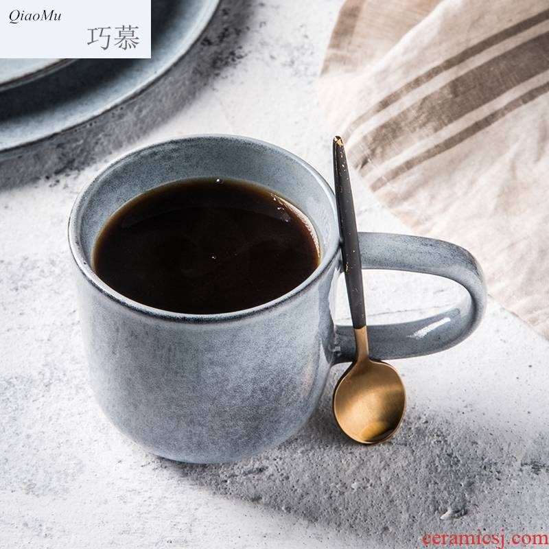 Qiam longed for home opportunely Japanese ceramic keller of coffee cup of contracted water cup with the milk cup spot for breakfast