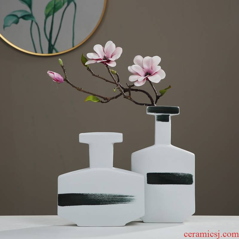 Soft adornment of new Chinese style between example ceramic vase inserted dried flowers, furnishing articles, the sitting room porch TV ark, home decorations