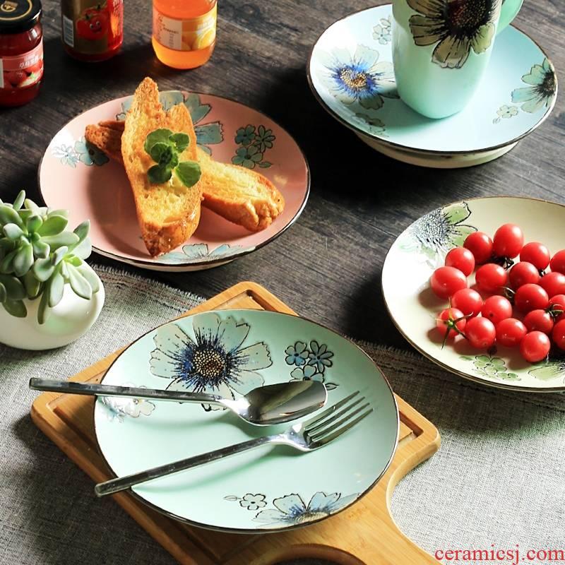 Qiao mu big hand under the glaze color flat ceramic plate 8.5 inch disks creative high temperature porcelain plates