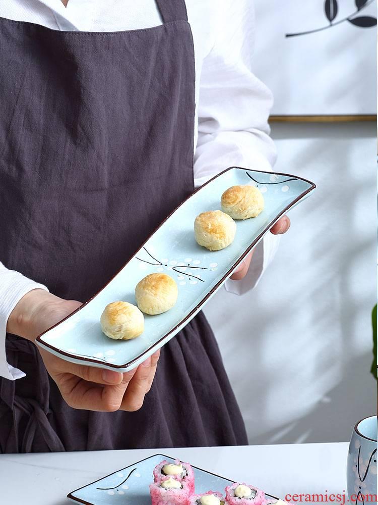 Japanese sushi plate creative ceramic rectangle restaurant sweet snack dish fish dish square plate household utensils