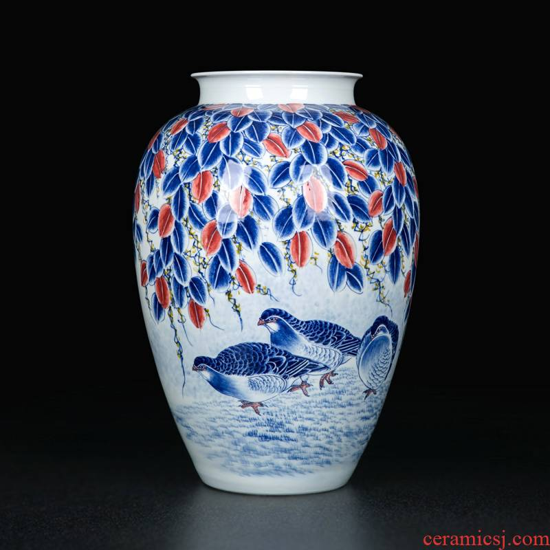 Traditional classical vase coloured drawing or pattern of jingdezhen crafts dry flower arranging flowers is placed to decorate the sitting room of Chinese style household ceramics