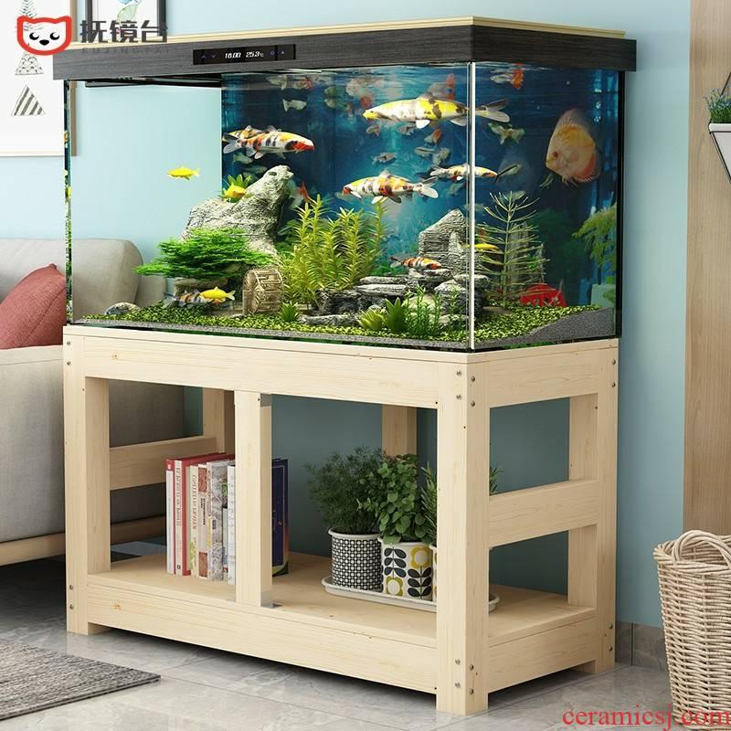 Solid wood, pine grass fish tank bottom ark, chassis base cylinder tank customized aquatic animals box shelf