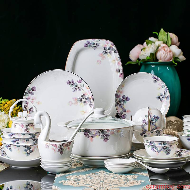 Microwave gold dishes suit I and contracted household bowls of ipads plate combination of jingdezhen high - grade Chinese housewarming tableware