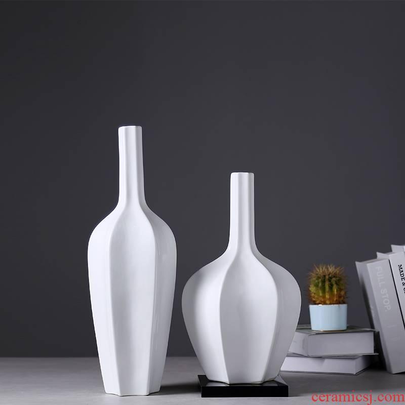 Modern European ceramics vase home sitting room porch dried flowers flower arrangement Nordic light key-2 luxury table decorations furnishing articles