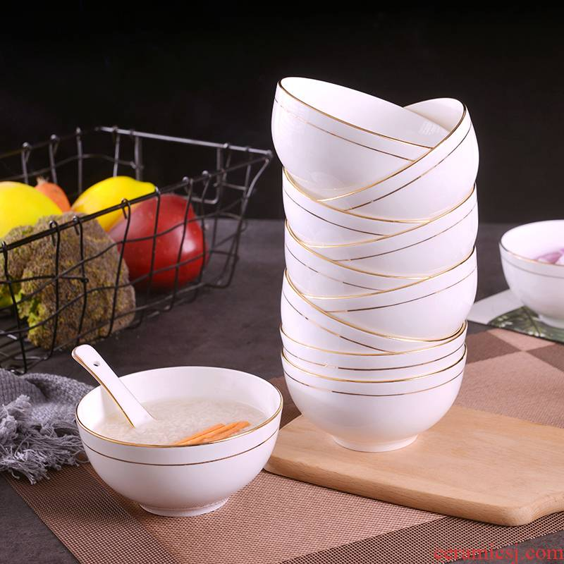 Creative household European - style up phnom penh rice bowls suit ipads China large rainbow such as bowl jingdezhen ceramic contracted bowl for dinner