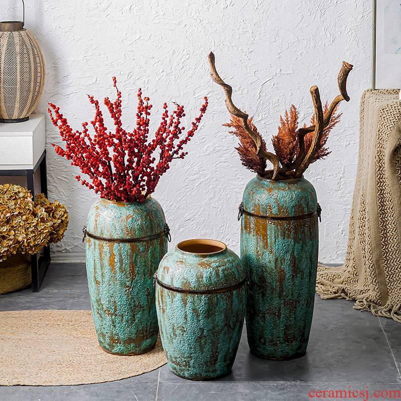 Jingdezhen ground vase large suit sitting room porch decorate household ceramic bottle furnishing articles American European flower arrangement