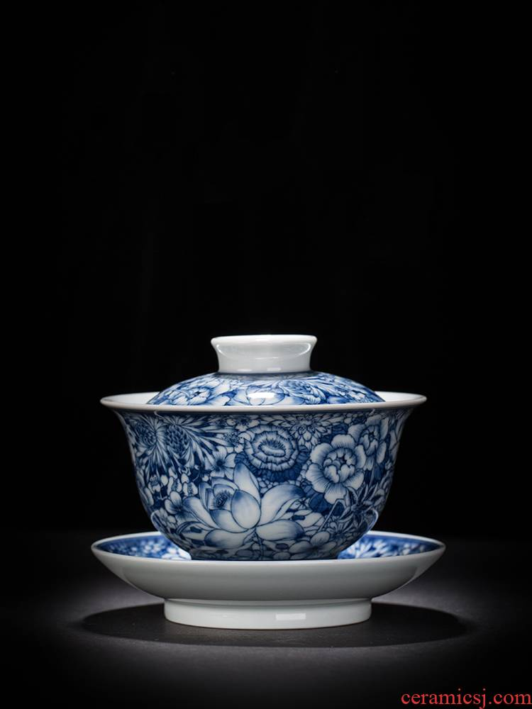 To burn only three tureen hand - made porcelain cups maintain flower tureen tea bowl of jingdezhen kung fu tea set by hand