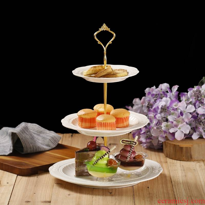 Qiao mu ceramic three fruit bowl modern creative living room European - style snack plate of multilayer dry fruit tray was sugar snack plate
