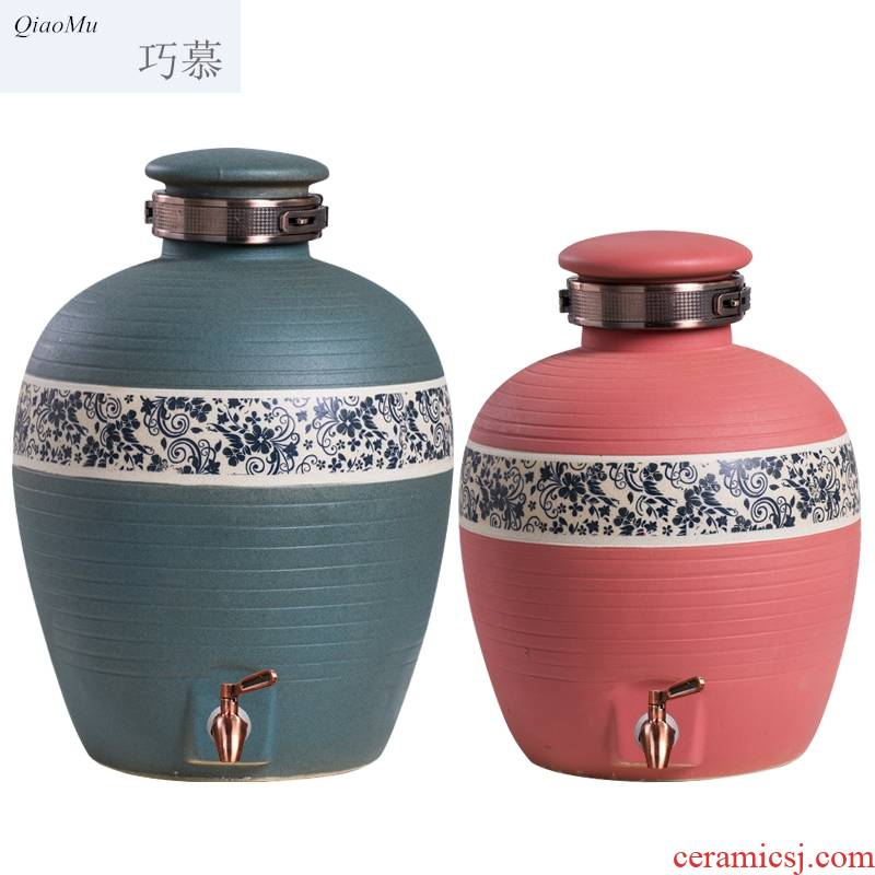 Qiao mu jingdezhen ceramic jars home hotel with medium size archaize jars liquor bottle seal