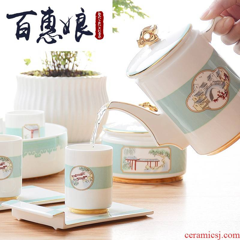 (niang fuels the ipads porcelain kung fu tea sets combined with ceramic cups water kettle upscale gift box