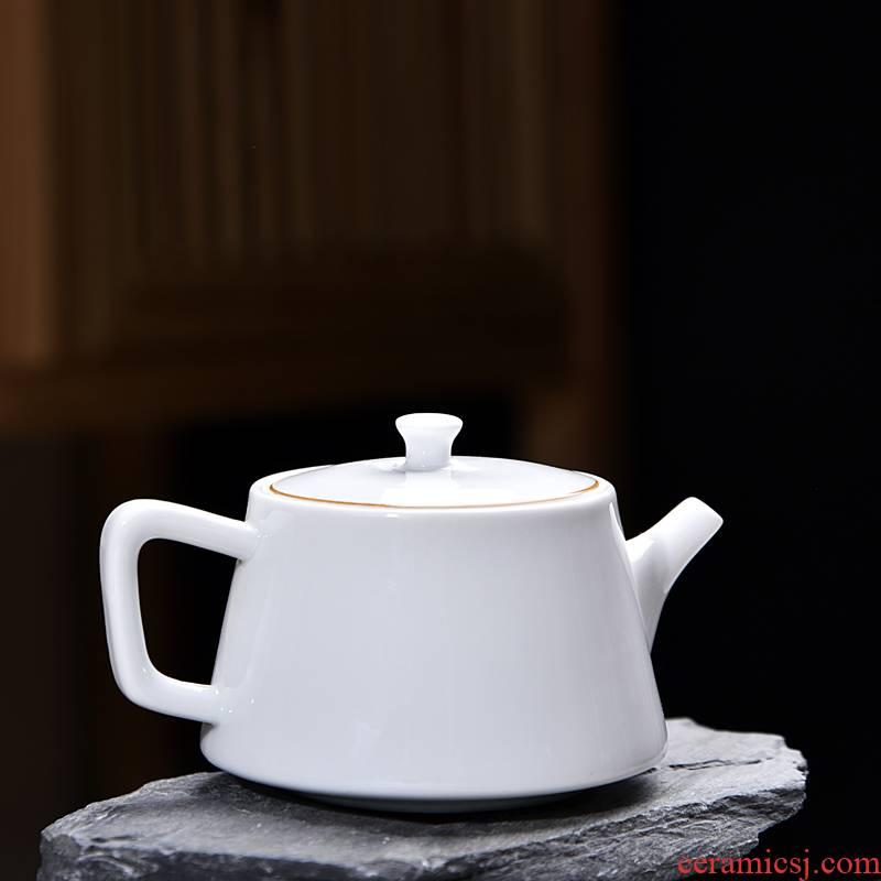 Hui shi dehua white porcelain ceramic teapot single pot kung fu tea set household small manual suet jade teapot