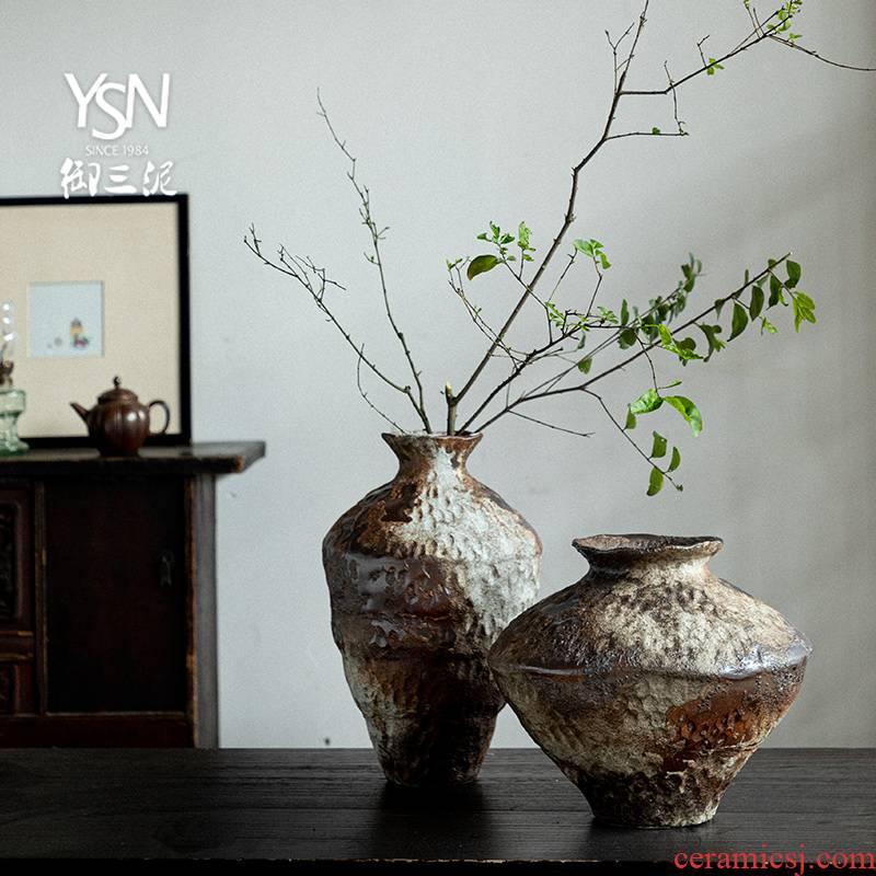 Royal three thick clay ceramic vase bearing flower arranging nostalgic manual home stay hotel wabi-sabi zen wind restoring ancient ways furnishing articles