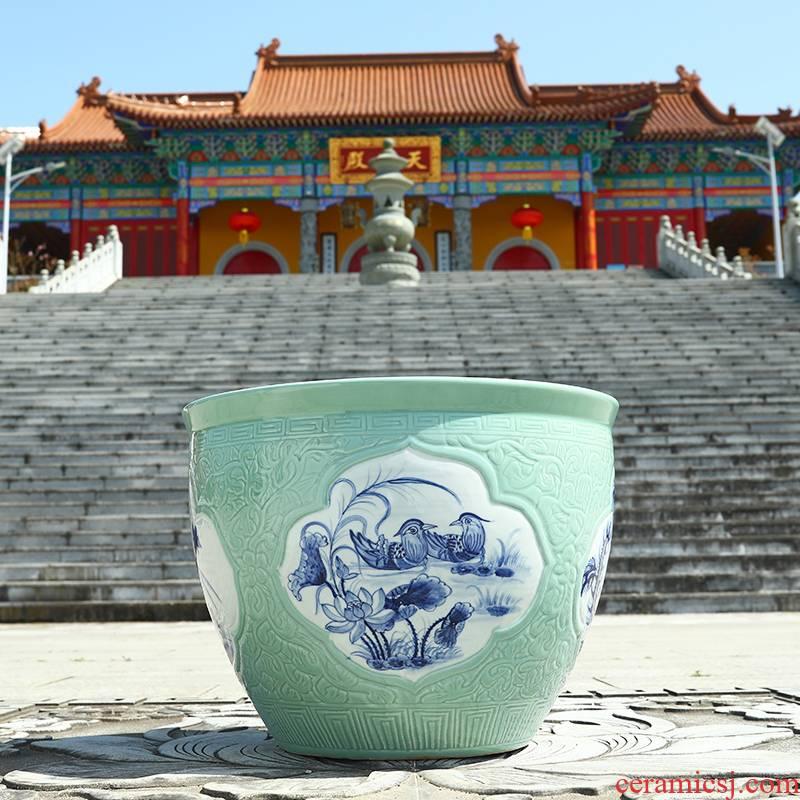 Jingdezhen ceramic VAT goldfish bowl aquarium lotus basin water lily lotus feng shui plutus tortoise cylinder cylinder to plant trees