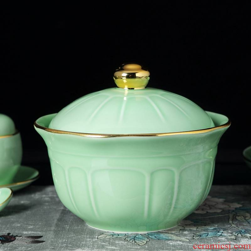 Qiao mu jingdezhen shadow porcelain tableware suit household combination of high - grade Chinese celadon bowls plates club table dinner