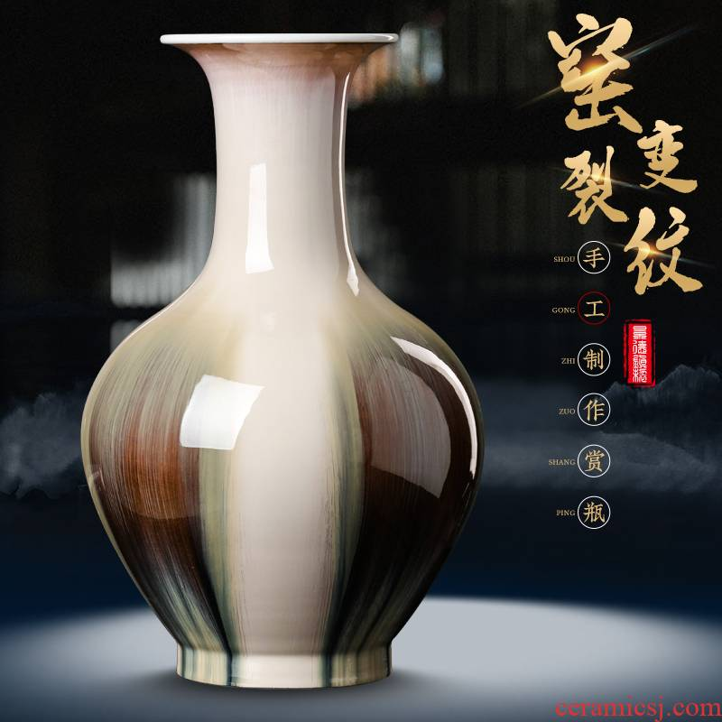 Archaize of jingdezhen ceramics up crack glaze vase furnishing articles rich ancient frame of new Chinese style household adornment sitting room