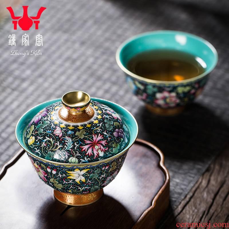 Clock home up the was suit jingdezhen high - end colored enamel, black tie up lotus flower grain turquoise glazed inside tureen tea cups