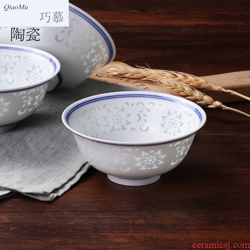 Qiao longed for blue and white porcelain bowls home for dinner and exquisite porcelain hollow out tall bowl prevent hot jingdezhen ceramic tableware