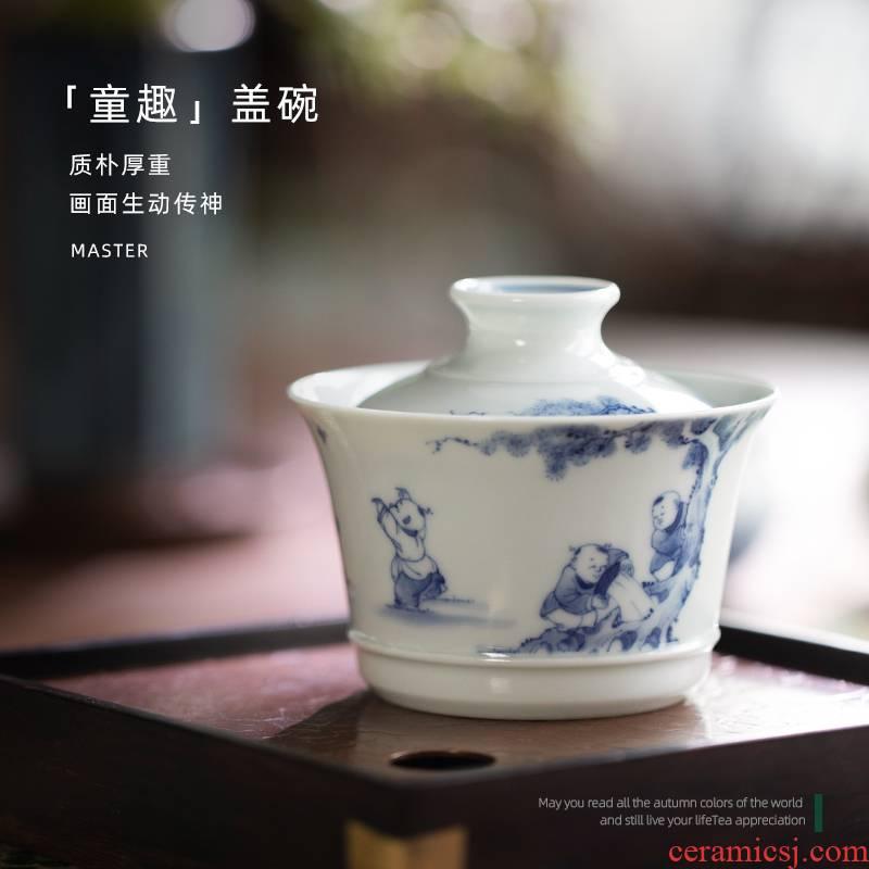 Mountain sound hand - made porcelain of jingdezhen of pure manual tong qu two only tureen tea tureen single hot tureen