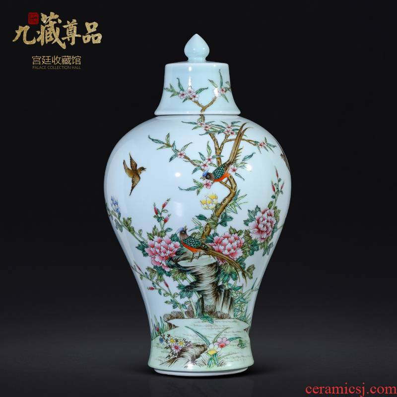 Jingdezhen ceramics antique hand - made blue glaze enamel vase Chinese style living room TV cabinet porch is decorated can of furnishing articles