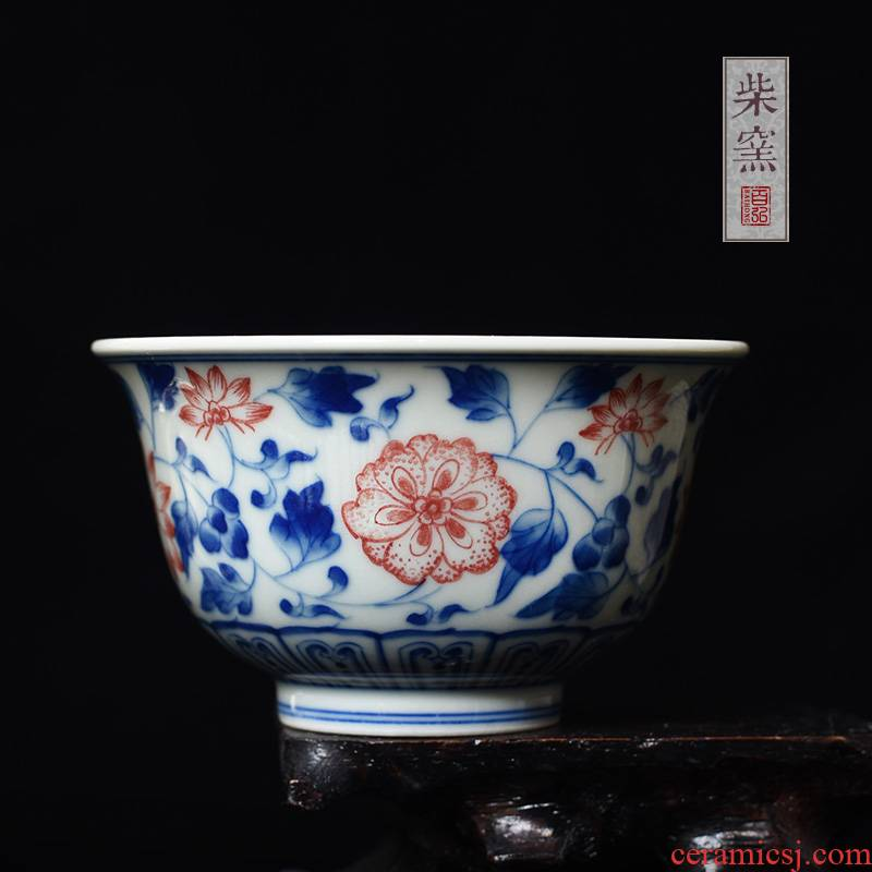 Yihong maintain the blue and red color master cup single CPU jingdezhen teacups hand - made hibiscus branches sample tea cup