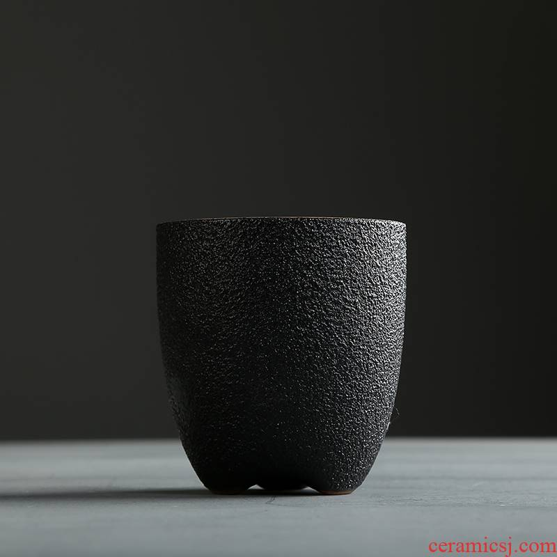 Black pottery teacup large ceramic cup 150 ml master cup Black pottery cup single CPU Japanese glass household