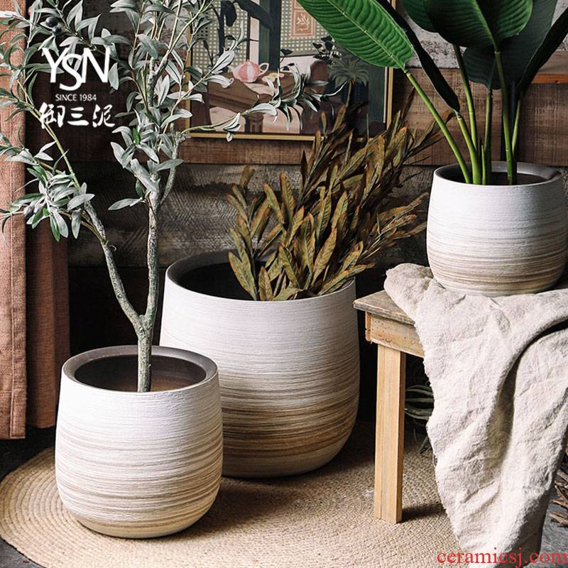 Royal three Nordic I and contracted, ceramic flower pot coarse pottery mud creative green plant vases, flower arrangement sitting room adornment is placed