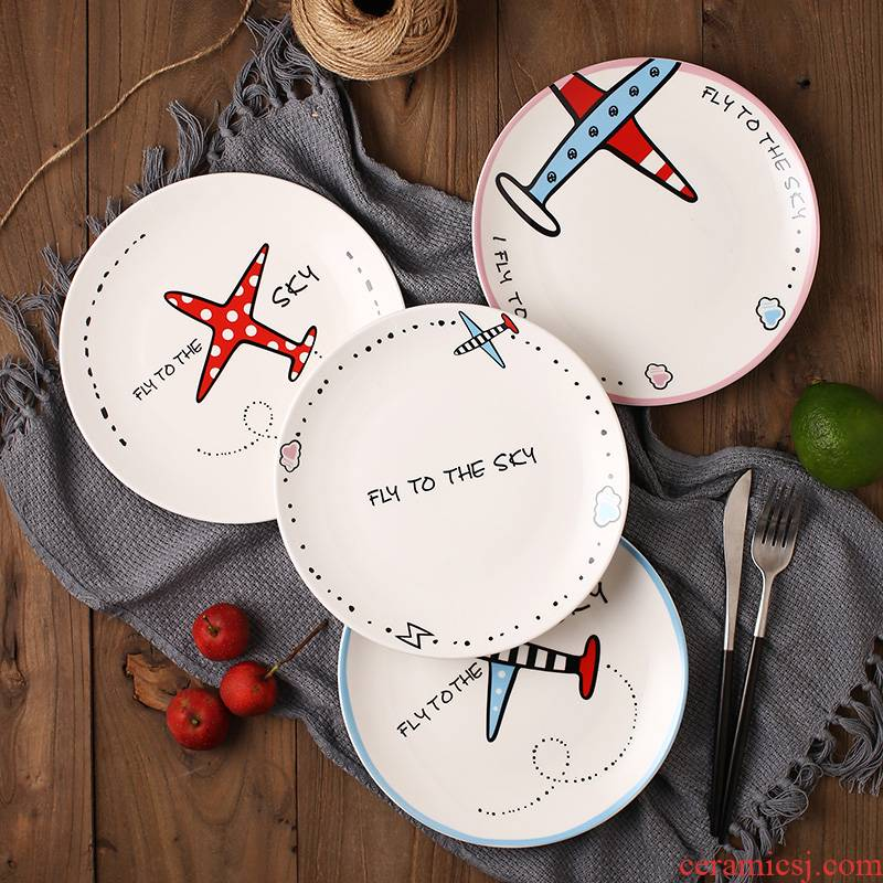 Four 8 inch disc ceramic household contracted wind cartoon dish plate steak pasta dish meal plate plate