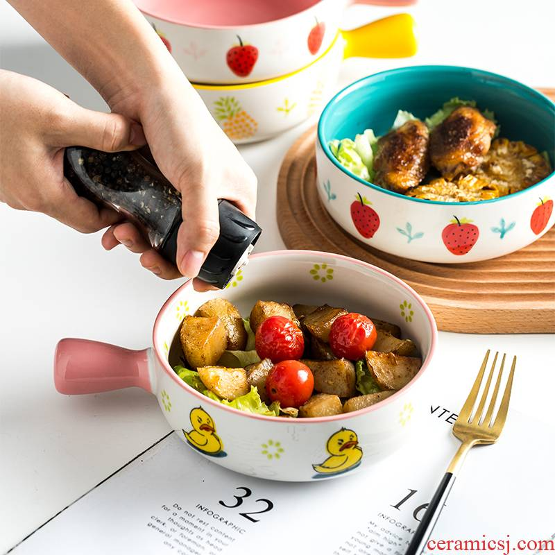 Creative ceramics with handle roasted bowl home plate mercifully rainbow such use salad bowl oven for paella pan