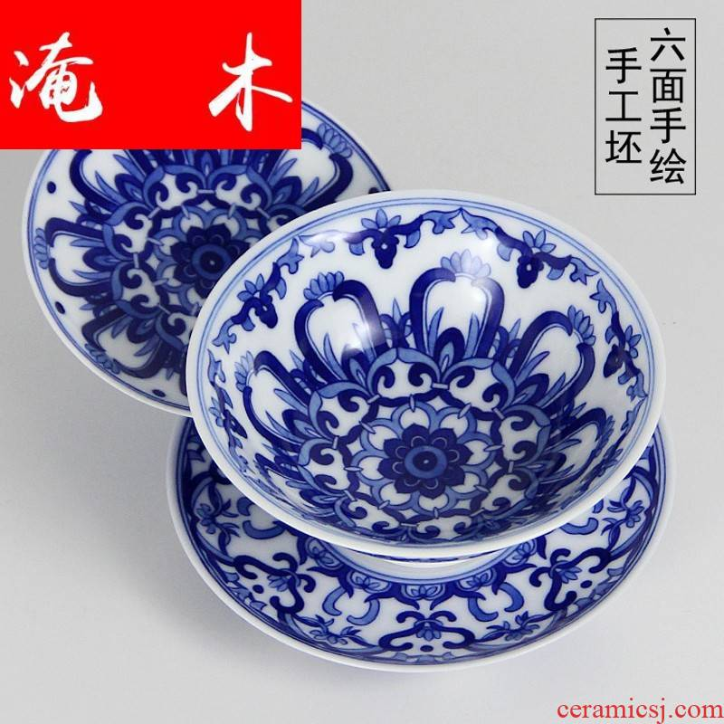 Submerged wood pure manual tureen high - grade hand - made ceramic only three bowl bowl of blue and white porcelain cups kung fu tea tea