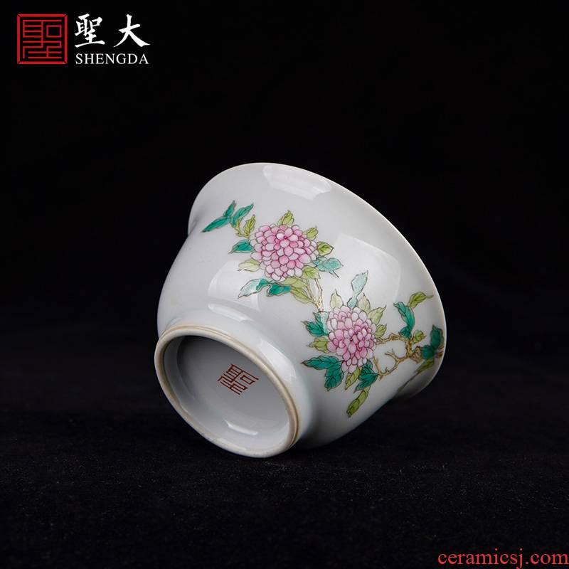 Santa teacups hand - made ceramic kungfu blue tie up branch lotus powder enamel hydrangea master jingdezhen tea sample tea cup