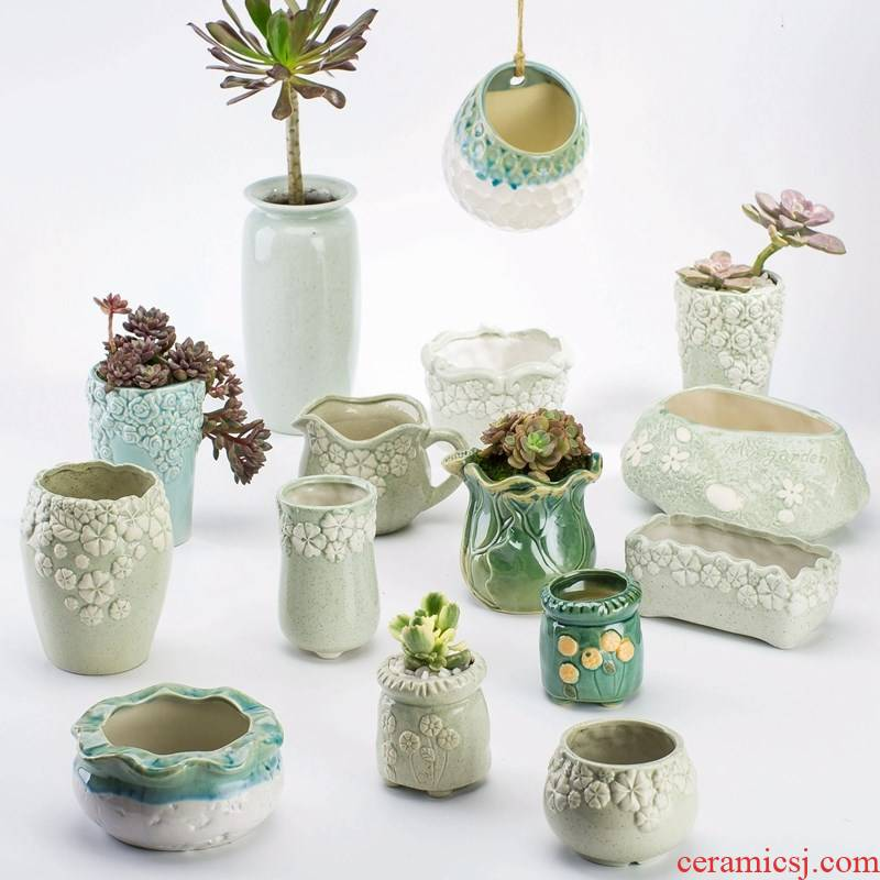 Meaty plant POTS get rich tree creative move northern wind modern girl heart small lovely ceramic basin of the old from running