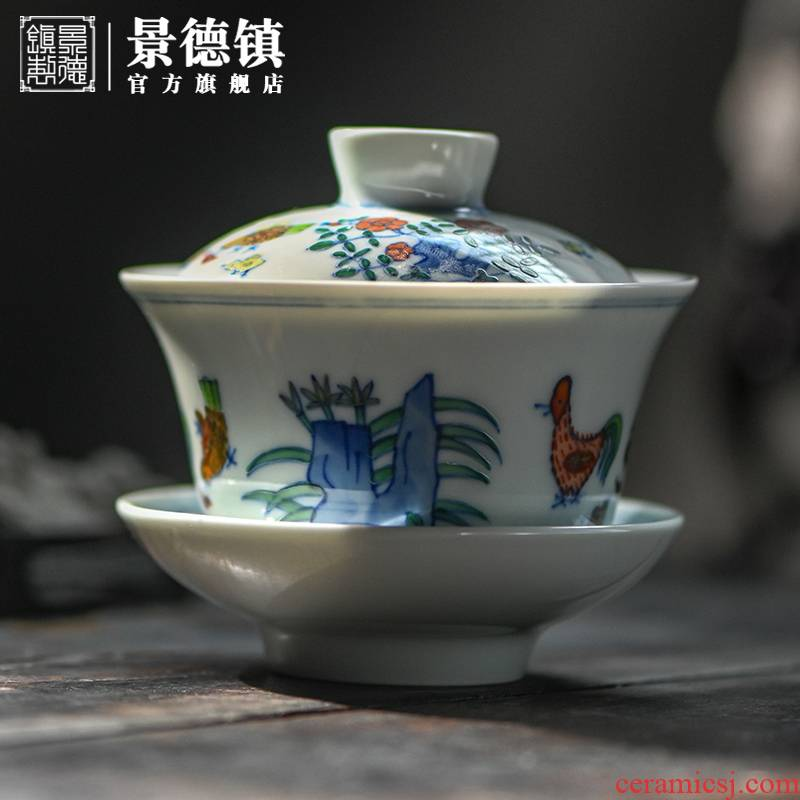 Jingdezhen 's flagship store in the bucket color hen son figure tureen single hand - made thin foetus bucket color tureen tea set