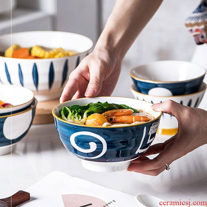 Japanese eat a single microwave ceramic bowl move creative delicate rice single soup bowl of soup rice surface of pottery and porcelain bowl