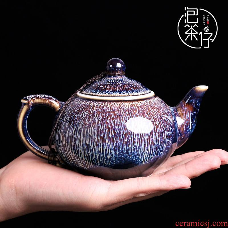 One Japanese ceramic teapot kung fu tea set single pot teapot obsidian become Chinese style restoring ancient ways big teapot household size