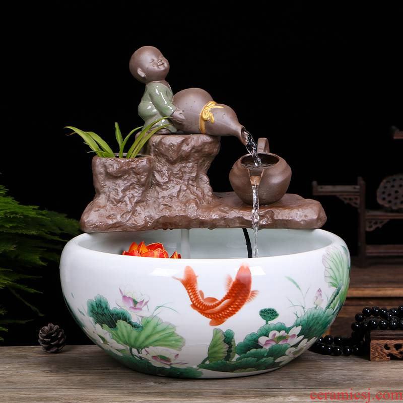Jingdezhen ceramic aquarium water fountain circulation plutus in furnishing articles furnishing articles creative a goldfish bowl fish bowl in the living room