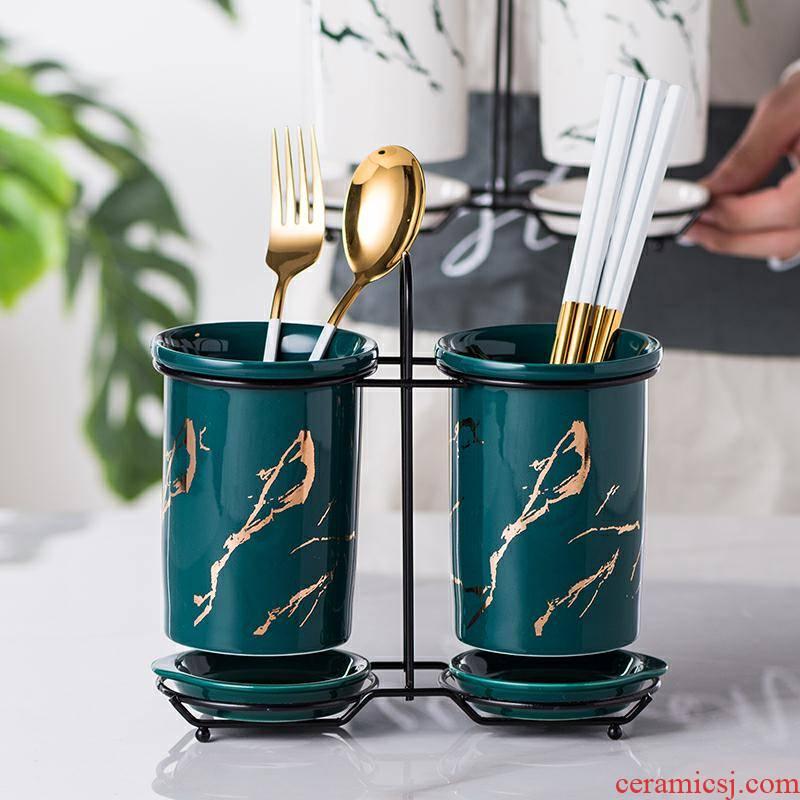 Ceramic tube informs the waterlogging under caused by excessive rainfall malachite green chopsticks chopsticks box to receive shelf Nordic pairs of chopsticks chopsticks box barrels