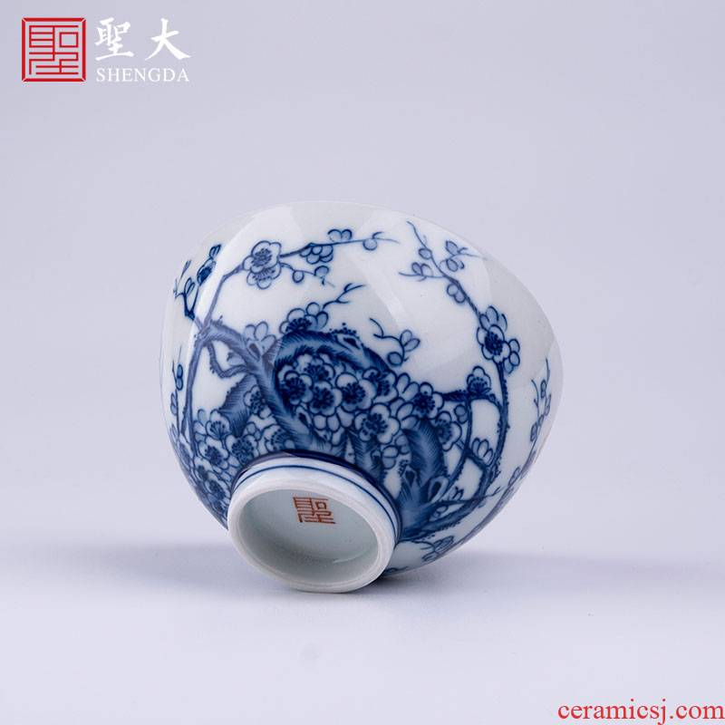 Santa teacups hand - made ceramic kungfu made inside and outside the poetic masters cup of jingdezhen blue and white cold name plum tea sample tea cup