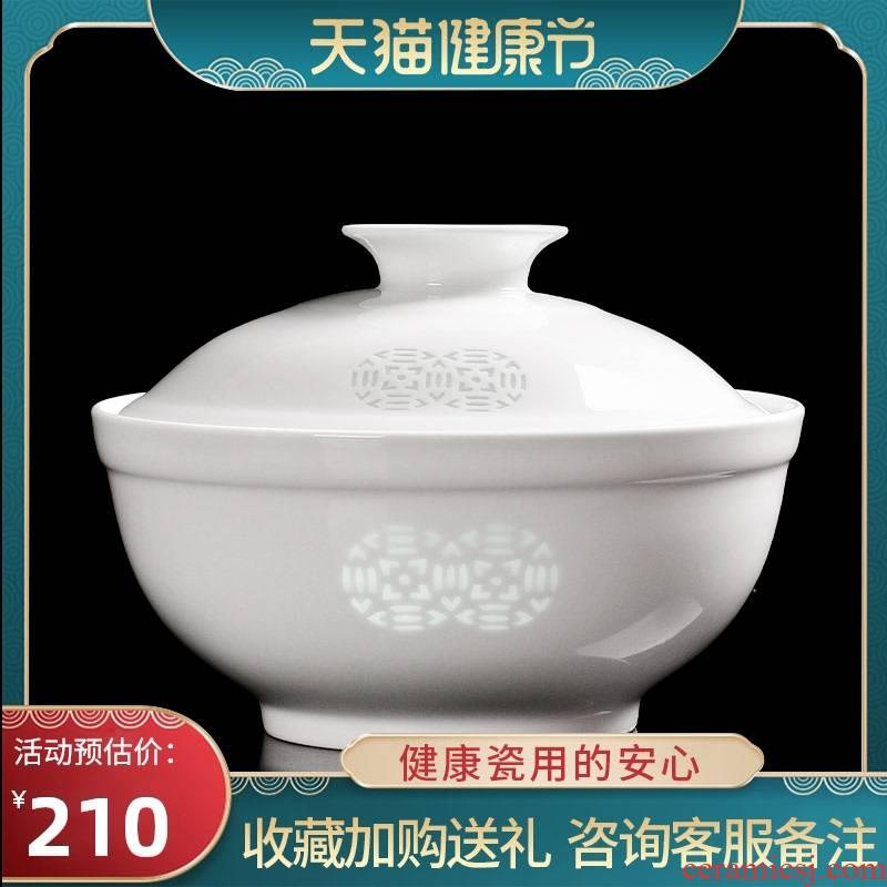 Jingdezhen ceramic tableware of ancient and exquisite high white porcelain creative household contracted large capacity with cover to use the machine