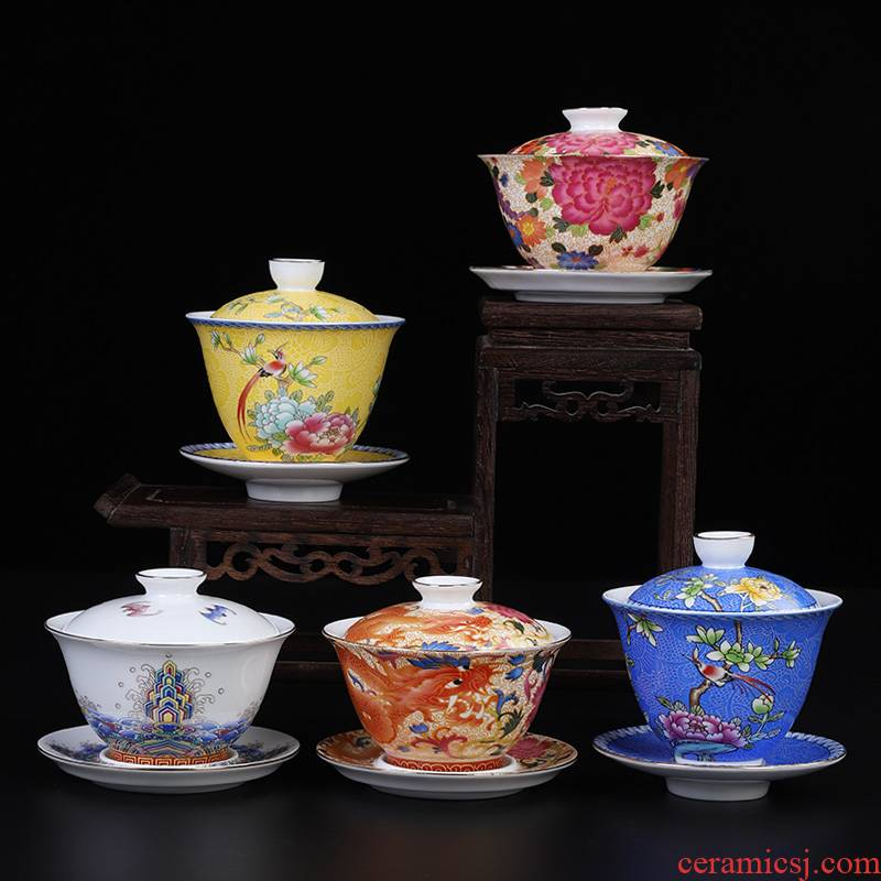 High - end colored enamel hot tureen jingdezhen kung fu tea tea not only three tureen tea cup in use to use