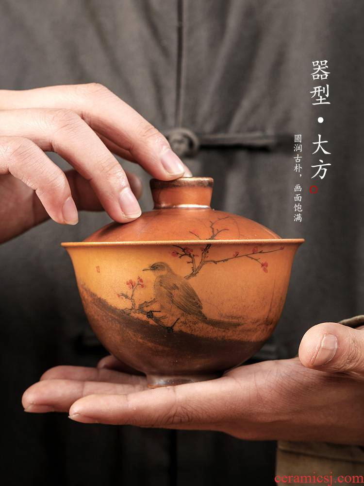 Pure manual firewood kunfu tea tureen tea cups jingdezhen hand - made ceramic painting of flowers and not hot tea bowl tea bowl