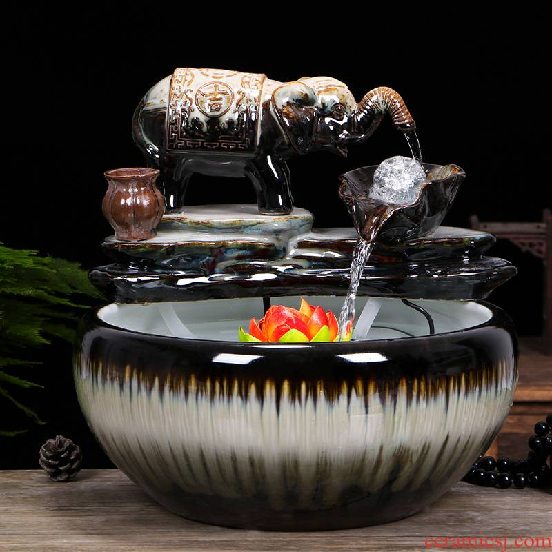 Jingdezhen ceramic aquarium water fountain creative small fish from cycle furnishing articles home sitting room a goldfish bowl