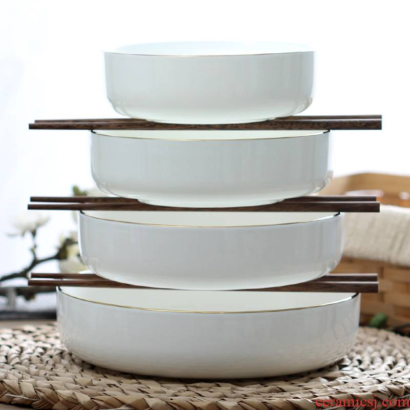 Jin Bianchao deep dish home dishes steamed egg bowl of the microwave ceramics with cover deepen soup plate ipads porcelain salad plates